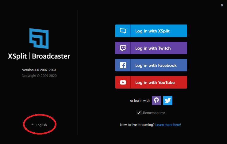XSplit Broadcasterの日本語化方法